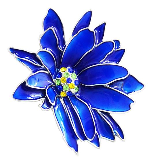 Azul Esmalte Extravagante Strass Flor F Anel Broche Pin La