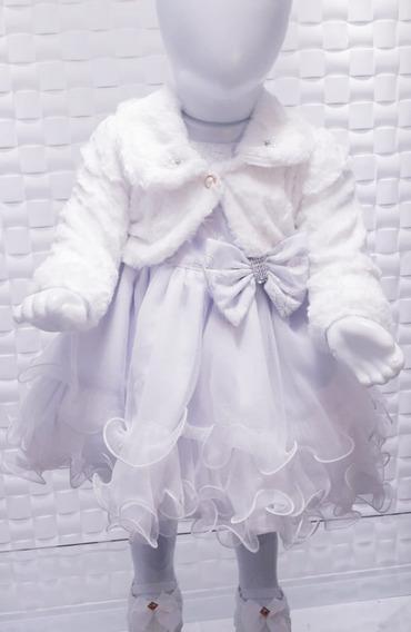 Vestido Batizado Bebê 2/9 Meses Bolerinho E Sapato