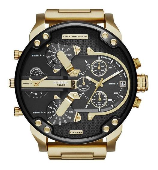 Relógio Diiesel Dz7333 Masculino Original Dourado E Preto
