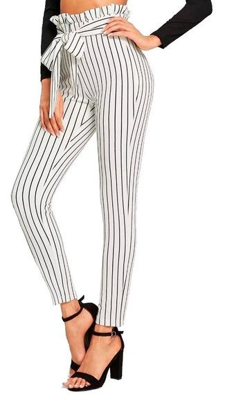 Pantalon De Vestir Blanco Con Rallas Negras Dama Elegante Bo