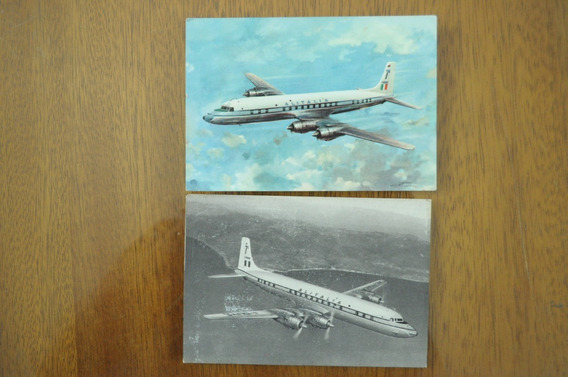 2 Antigua Foto Postal Aviones Alitalia Douglas Dc 7c C 1970