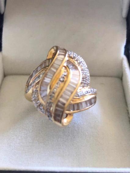 Anel De Ouro E Diamantes Baguete
