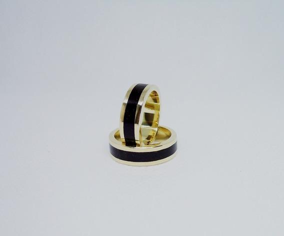 Par De Alianças De Ouro 18 K Com Madeira Ébano Modelo 6 Mm