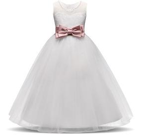 Vestido De Fiesta Niña Blanco Moño Rosa J000182