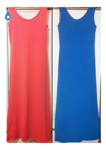 2x1 Vestidos Largos 1 Coral Y 1 Azul Divinos! Elastizados