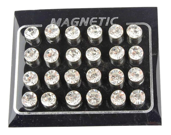 Cartela 12 Pares Brinco Pressão Magnético Imã Ponto De Luz