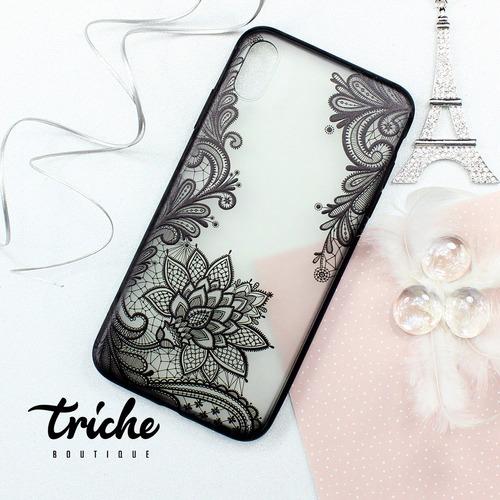 Imagen 1 de 3 de Funda Case Diseño Vintage Flores Negro Dama iPhone XS Max