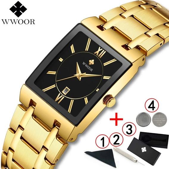 Relógio Top Marca De Luxo Dourado Quadrado Preto