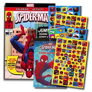 Libro De Colorear Marvel Spiderman Con Mas De 270 Pegatinas