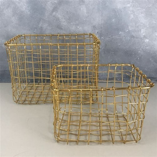 Set X2 Canastos Organizador Metal Dorado Oro Rectangular