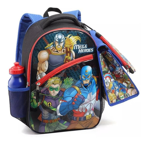 Mochila Escolar Heróis Mega Heroes Lancheira Estojo Infantil