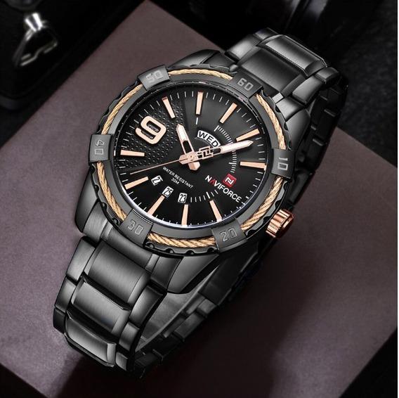 Relógio Naviforce Masculino Aço Inoxidável - Preto - Nf9117