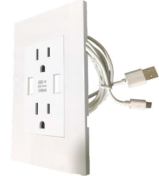 Placa Blanca Contacto Doble Y Carga Dual Usb Incluye Cable