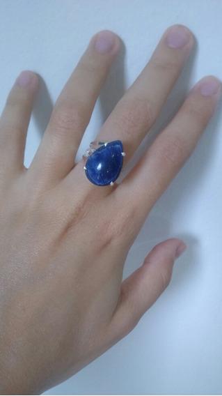 Anel De Prata 950 Com Pedra Sodalita Azul Em Formato De Gota