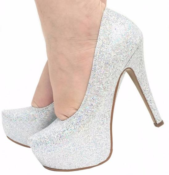 Sapato Scarpin Prata Gliter Brilho Salto Alto Fino Meia Pata
