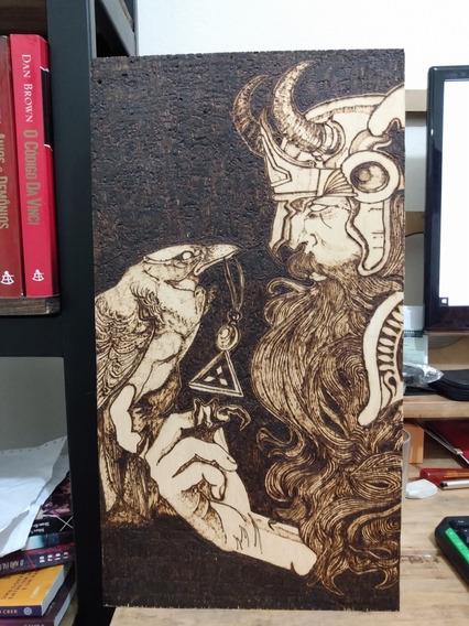 Quadro Odin Em Madeira Pirografado Vikings