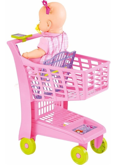 Carrinho Supermercado Infantil Market Rosa Meg Magic Toys