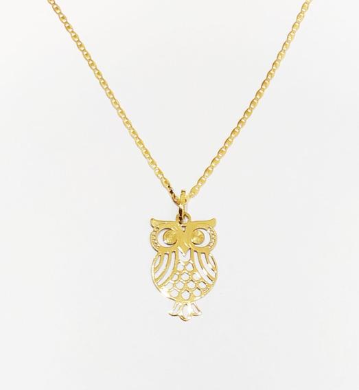 Corrente Piastrine 45cm Com Pingente Coruja Em Ouro 18k