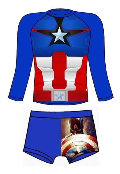 Traje De Baño Proteccion Uv Capitan America