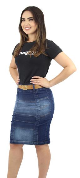 Saias Jeans Moda Evangélica Kit Com 3 Unidades