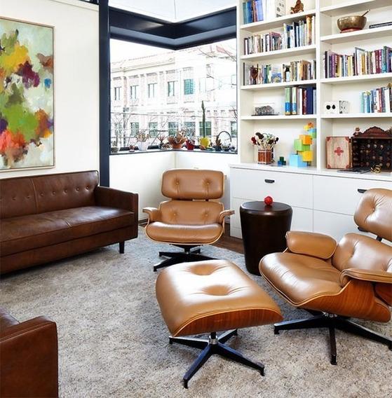 Poltrona Charles Eames + Puff Revestimento Couro Legítimo