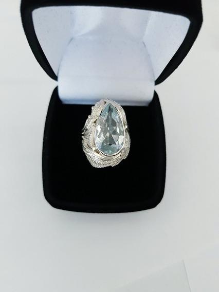 Anel Prata Pedra Preciosa Natural Água Marinha Feito À Mão!!