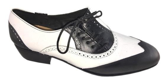 Zapatos Baile Hombre Tango Salsa Rock Flexible Blanco Negro