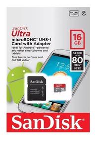 Cartão Memoria Micro Sd 16gb Classe 10 80mb/s (frete Gratis)