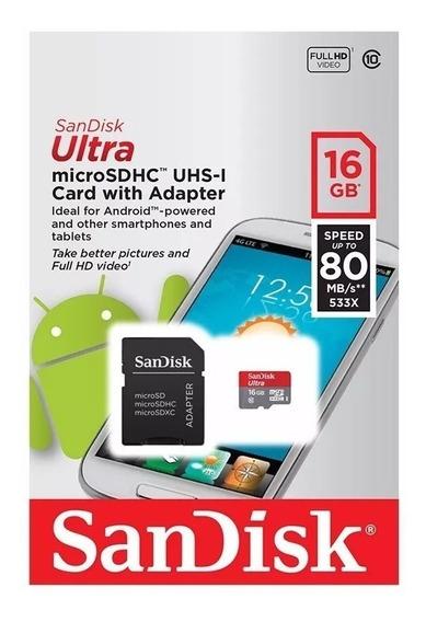 Cartão Memoria Micro Sd 16gb Classe 10 80mb/s, Lacrado Original Sandisk
