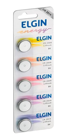 05 Baterias Pilhas Lithium Elgin Cr2016 01 Cart. C/ 5 Unid.