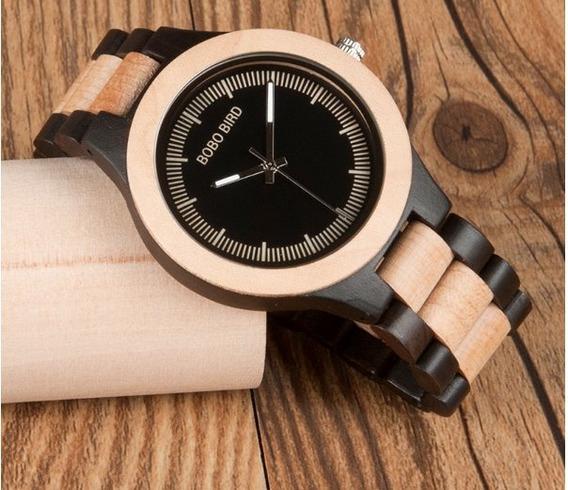 Relógio Masculino Bambu Madeira Analógico Lo01 Bobo Bird