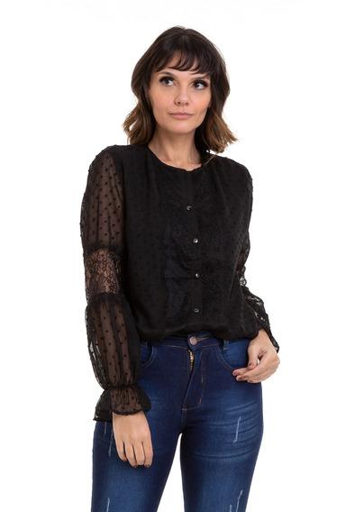 Camisa Kinara Chiffon Detalhes Em Renda Preta