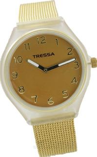 Reloj Tressa T-flow Acero Dorado Malla Tejida Garantia Oficial