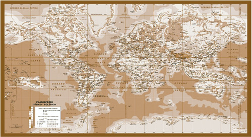 Planisferio Físicopolítico 2,74x1,50m En Vinilo Envio Gratis