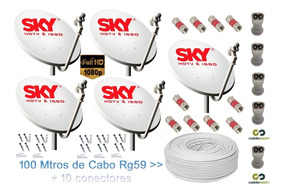 Kit 5 Antenas Completas 60cm Ku + 5 Lnb Greateck + 100m Cabo