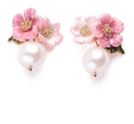 Pendientes Perla Elegante Aretes De Flores Plata 925 Vintage