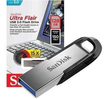 Pendrive Sandisk 128 Gb Ultraflair Usb 3.0 Original A1click