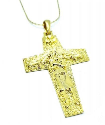 Cordão Crucifixo Papa Francisco Banho De Ouro 18k 1560