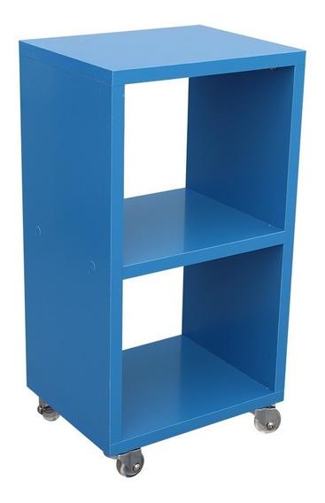 Criado Mudo 25x50x20cm Mdf Azul Claro Com Rodízios Gel