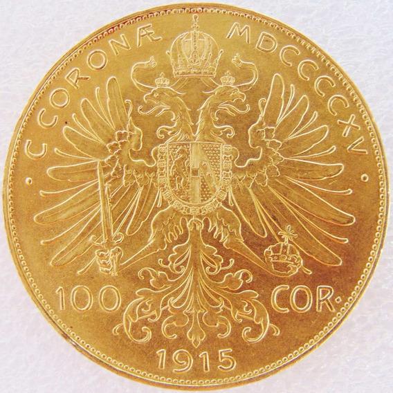 Moeda De Ouro Maciço 100 Coronas Austria 1915 22 K 33.8 Gr.