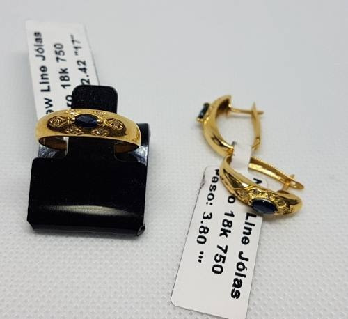 Kit Anel Brincos Em Ouro 18k 750 Solitario Impecável 6,22g