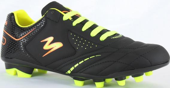 Tenis Futbol Soccer Pasto Modelo 430 Negro/ Negro/ Amarillo