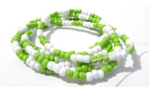 Colar Guia De Miçanga Verde E Branca Caboclo
