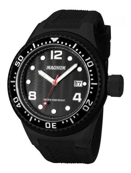Relógio Magnum Masculino Em Borracha Preta - Ma34021d