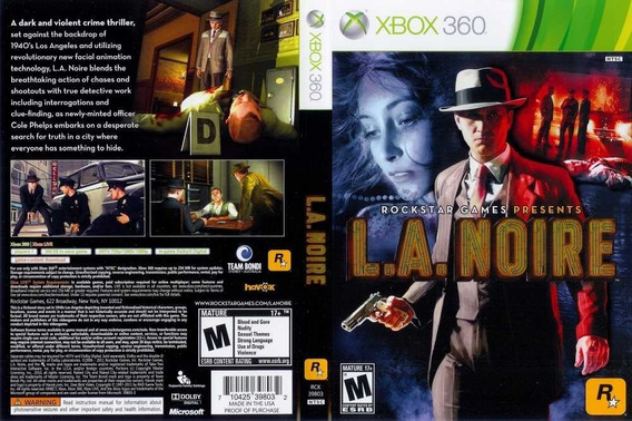 L.a. Noire - Original Para Xbox 360 Mídia Física Promoção