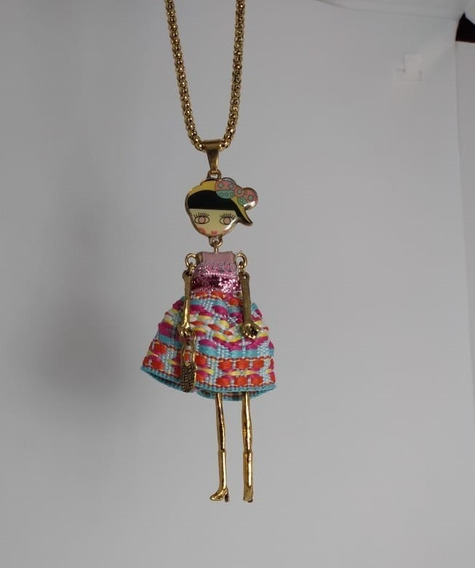 Collar Dije Muñeca Mujer Bisuteria Fina Moda Envío Gratis
