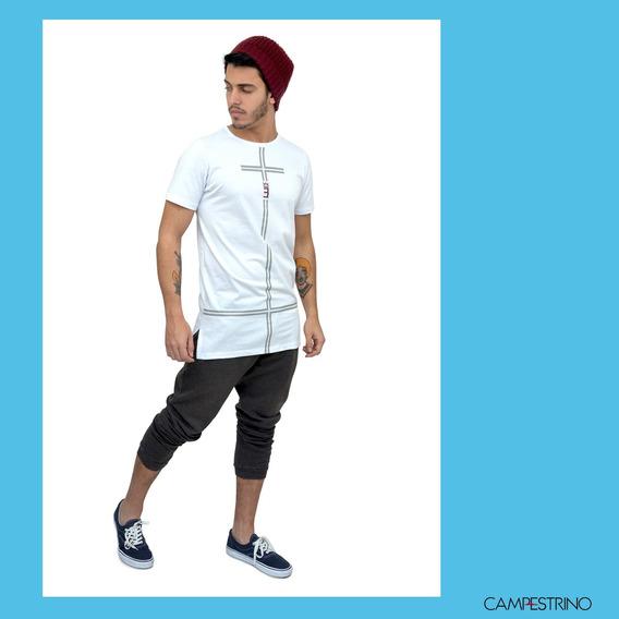 Camisa Long Line Cross White