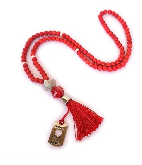 Japamala Budista Ho´oponopono 108 Contas Howlita Vermelho