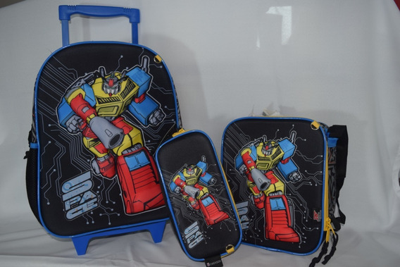 Mochila 3 D Escolar Infantil Menino Kit 3 Peças Robot Force