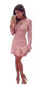 Vestido Feminino Renda Rosa Moda Evangélica Festa Casamento